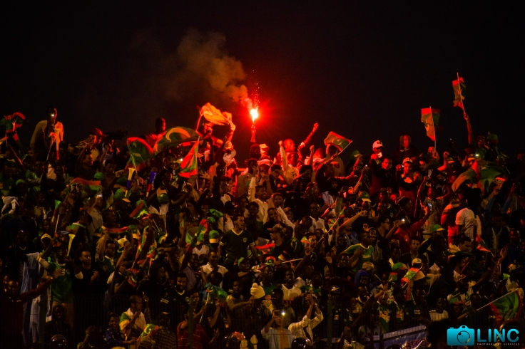 Mauritanian supporters celebrating the victory